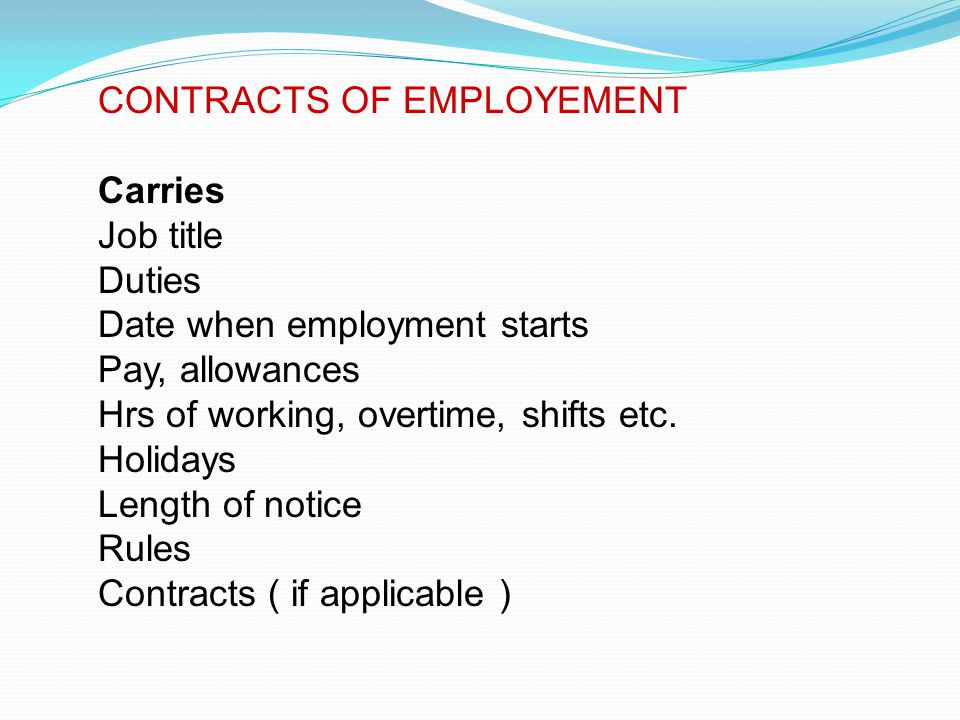 CONTRACTS OF EMPLOYEMENT