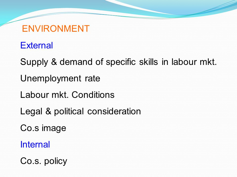 Supply & demand of specific skills in labour mkt. Unemployment rate