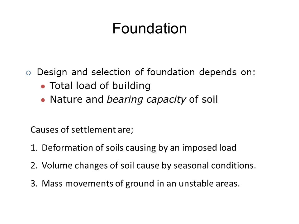 Foundation Causes of settlement are;