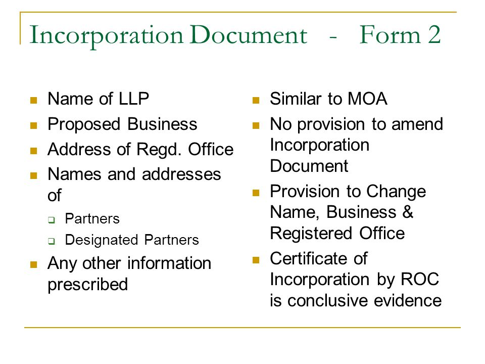 Incorporation Document - Form 2