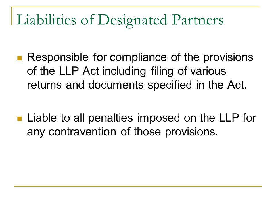 Liabilities of Designated Partners