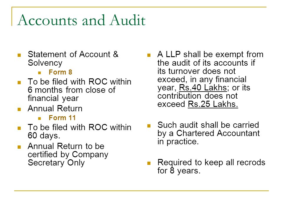 Accounts and Audit Statement of Account & Solvency