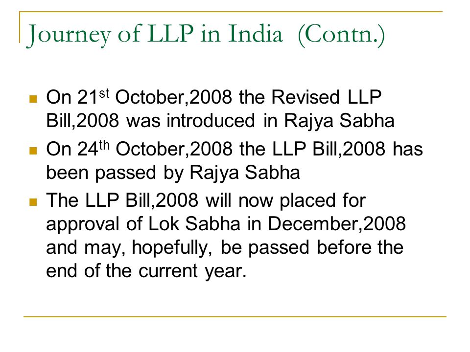 Journey of LLP in India (Contn.)