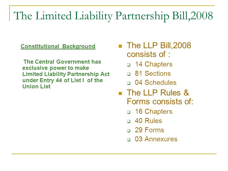 The Limited Liability Partnership Bill,2008