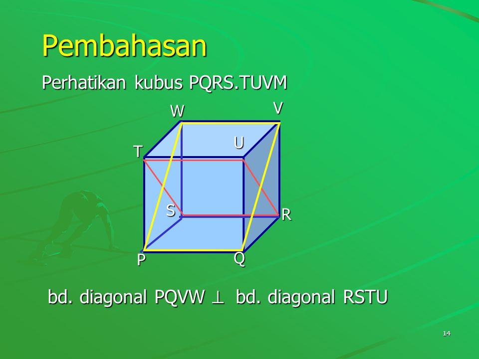 Pembahasan Perhatikan kubus PQRS.TUVM