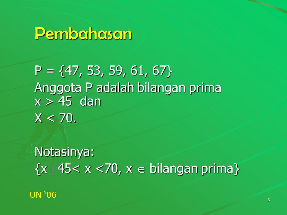 Pembahasan P = {47, 53, 59, 61, 67} Anggota P adalah bilangan prima x > 45 dan. X < 70. Notasinya: