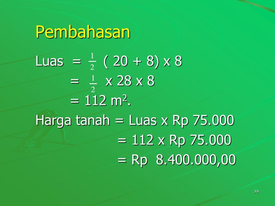Pembahasan Luas = ( 20 + 8) x 8 = x 28 x 8 = 112 m2.