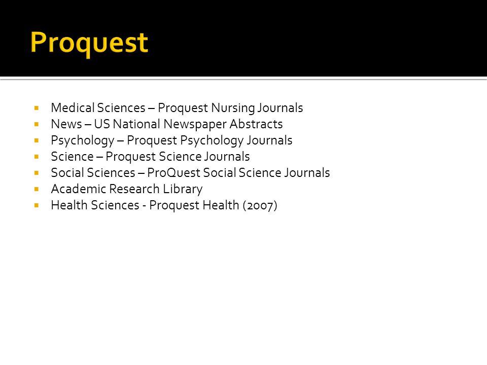 Proquest Medical Sciences – Proquest Nursing Journals