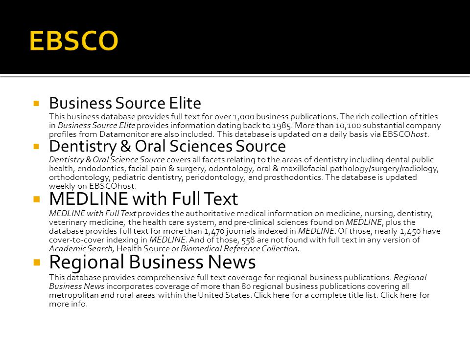 EBSCO Regional Business News MEDLINE with Full Text