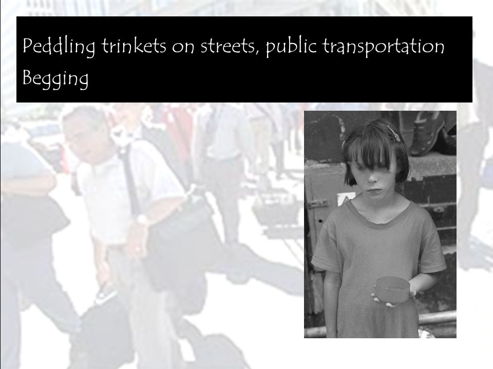 Peddling trinkets on streets, public transportation