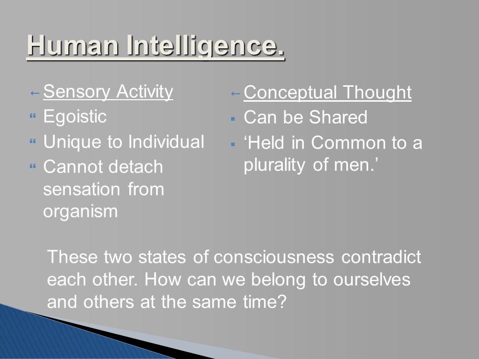 Human Intelligence. Sensory Activity Conceptual Thought Egoistic