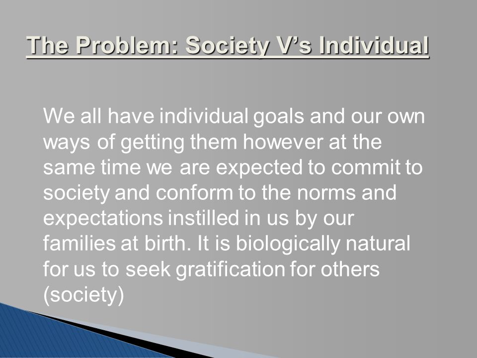The Problem: Society V's Individual