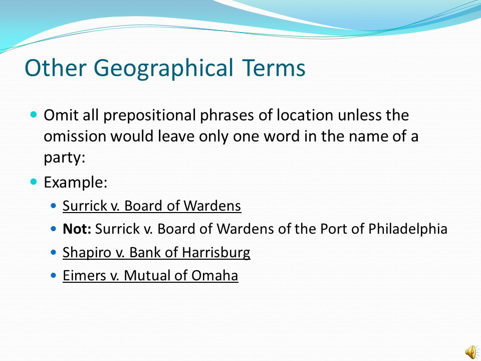 Other Geographical Terms