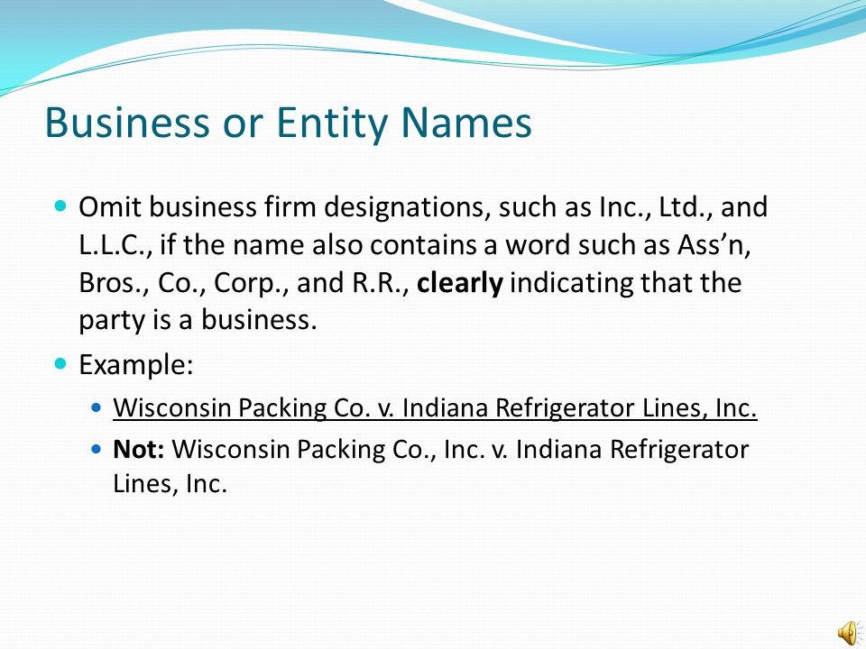 Business or Entity Names