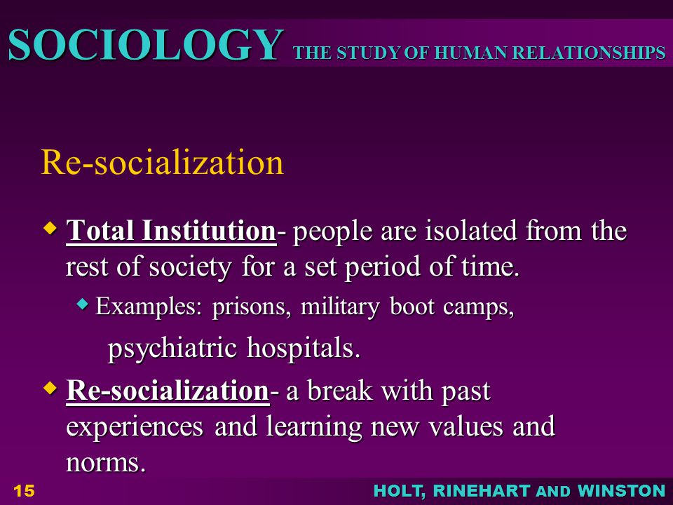 Re-socialization Total Institution- people are isolated from the rest of society for a set period of time.