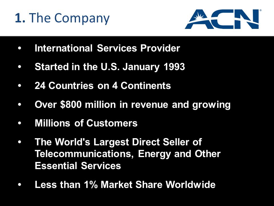 1. The Company • International Services Provider