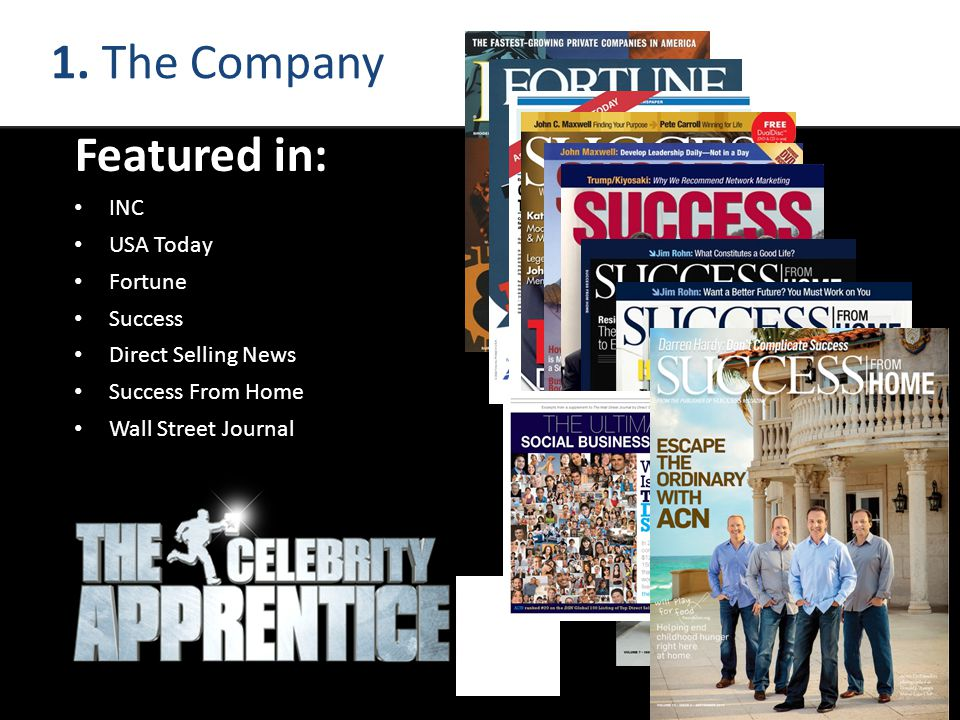 1. The Company Featured in: INC USA Today Fortune Success