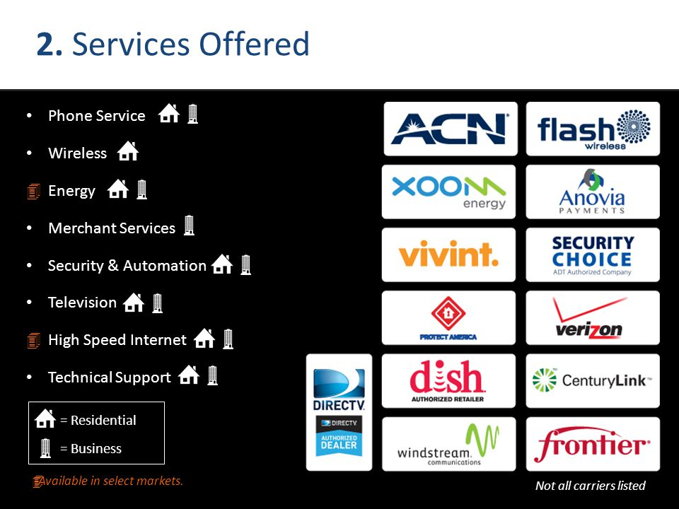 2. Services Offered Phone Service Wireless Energy Merchant Services