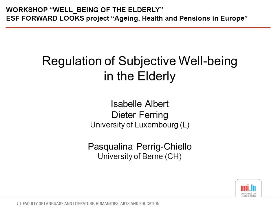 Regulation of Subjective Well-being in the Elderly