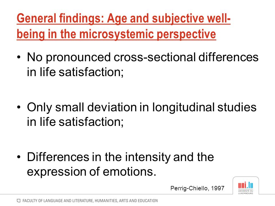 General findings: Age and subjective well-being in the microsystemic perspective