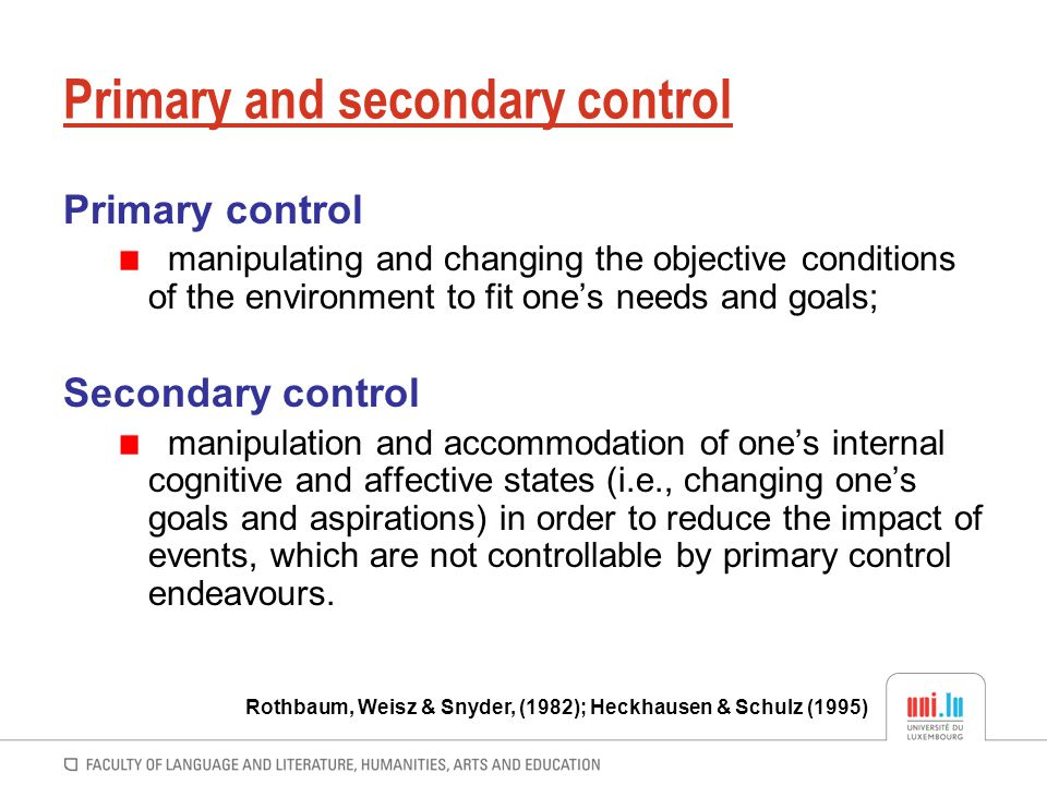 Primary and secondary control