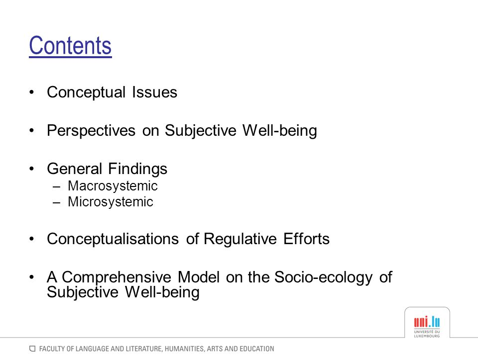 Contents Conceptual Issues Perspectives on Subjective Well-being