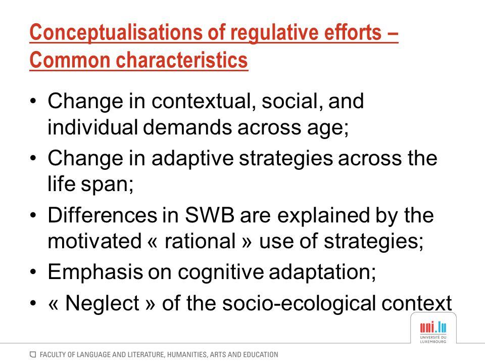Conceptualisations of regulative efforts – Common characteristics