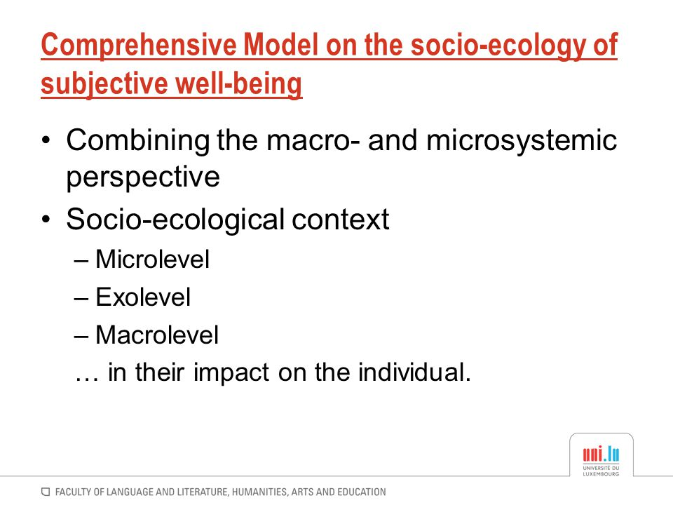 Comprehensive Model on the socio-ecology of subjective well-being