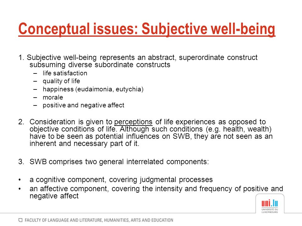 Conceptual issues: Subjective well-being