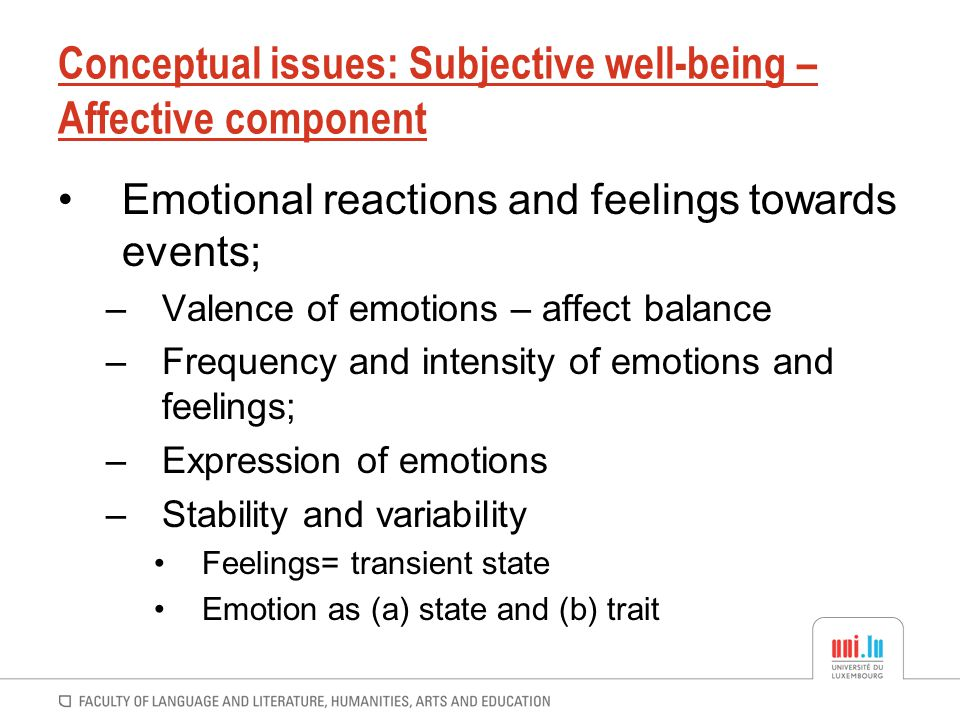 Conceptual issues: Subjective well-being – Affective component