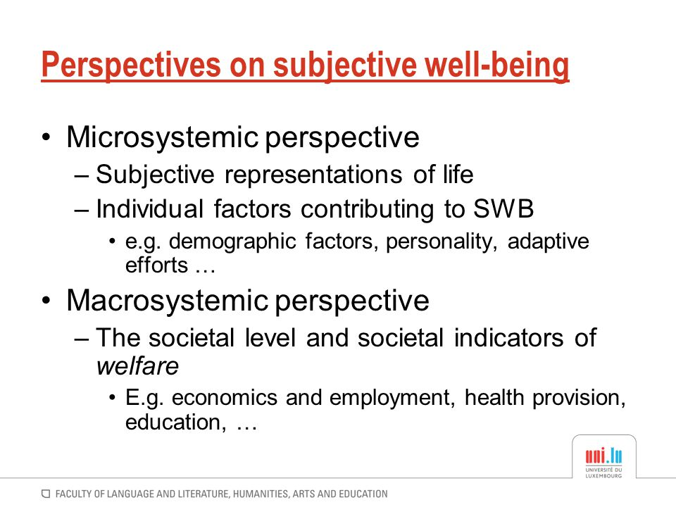 Perspectives on subjective well-being