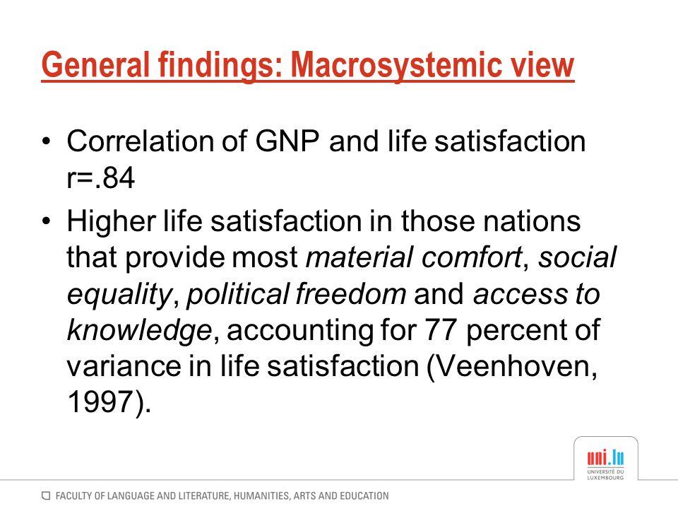 General findings: Macrosystemic view