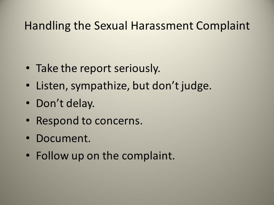 Handling the Sexual Harassment Complaint
