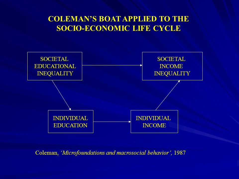 COLEMAN'S BOAT APPLIED TO THE SOCIO-ECONOMIC LIFE CYCLE