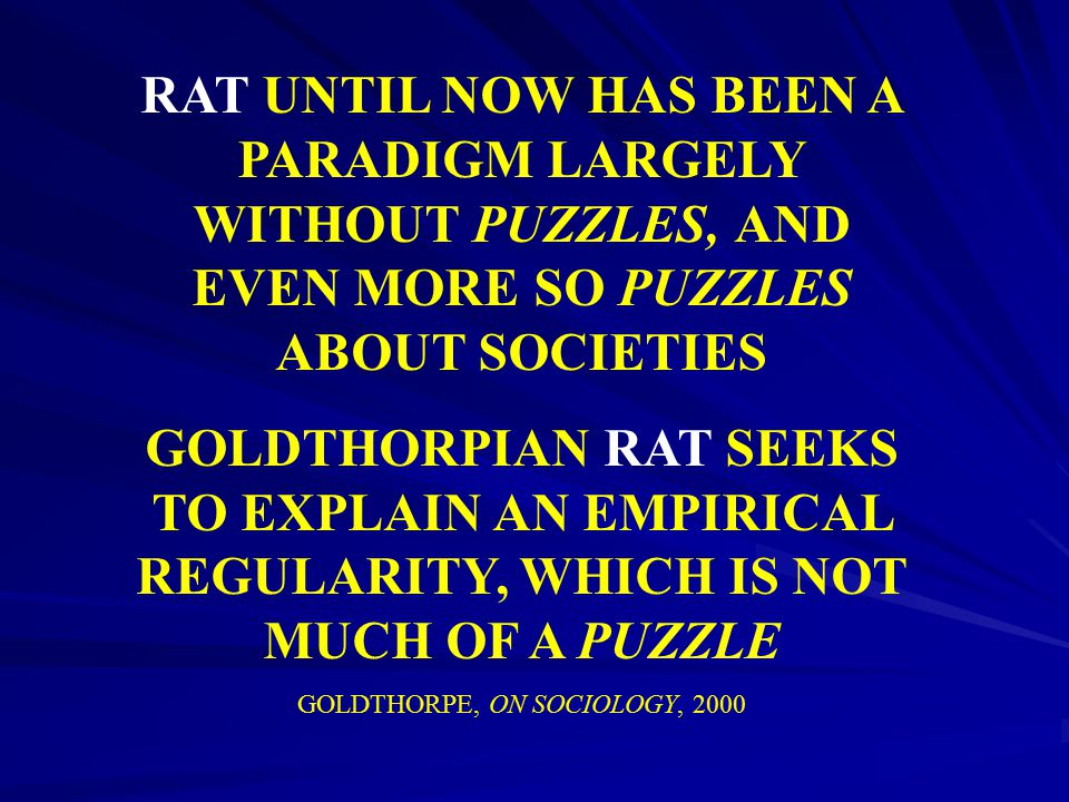 GOLDTHORPE, ON SOCIOLOGY, 2000