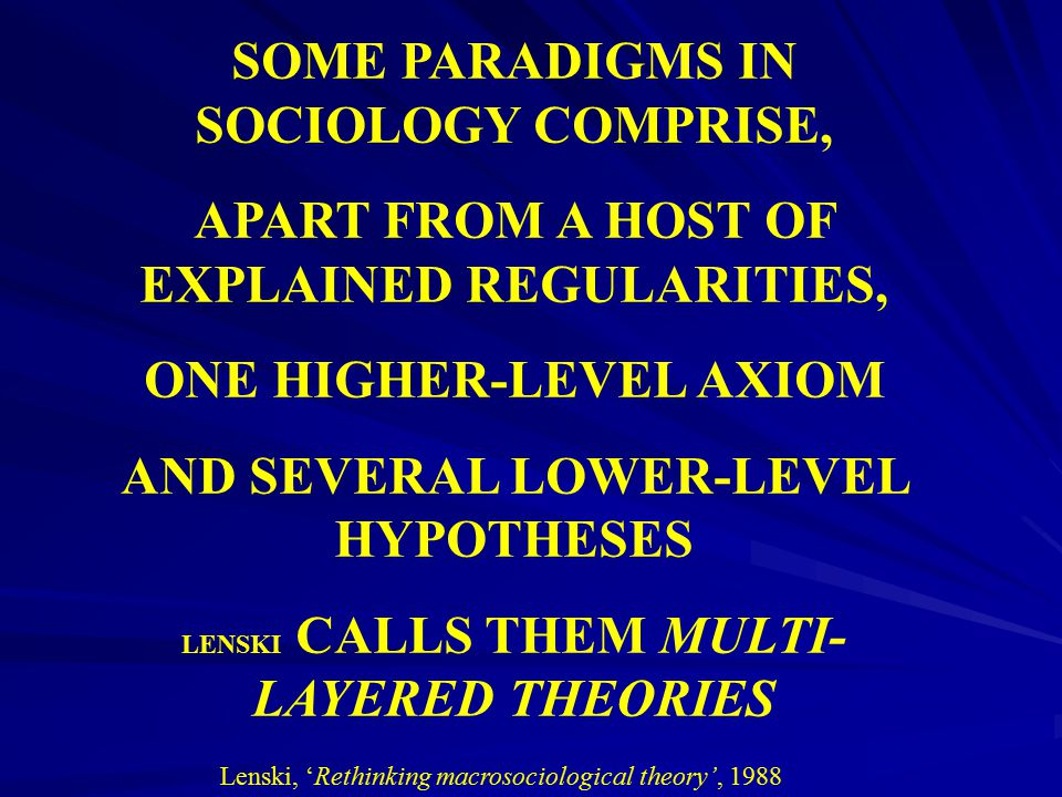 SOME PARADIGMS IN SOCIOLOGY COMPRISE,