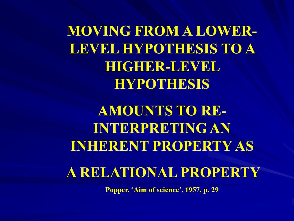 MOVING FROM A LOWER-LEVEL HYPOTHESIS TO A HIGHER-LEVEL HYPOTHESIS