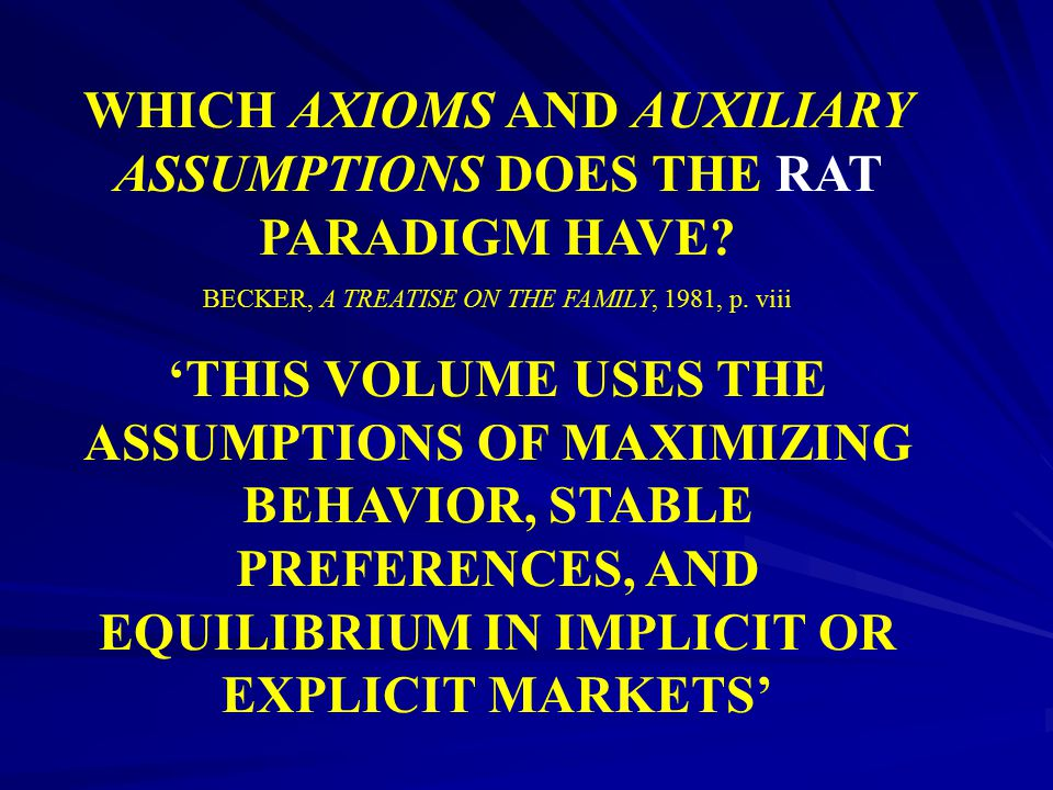 WHICH AXIOMS AND AUXILIARY ASSUMPTIONS DOES THE RAT PARADIGM HAVE
