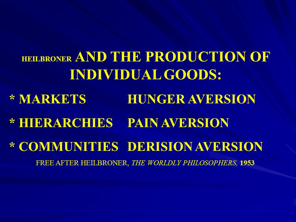 HEILBRONER AND THE PRODUCTION OF INDIVIDUAL GOODS: