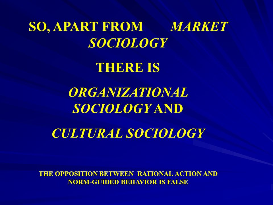 SO, APART FROM MARKET SOCIOLOGY ORGANIZATIONAL SOCIOLOGY AND