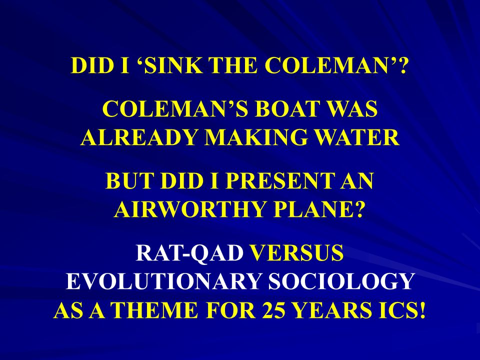 DID I 'SINK THE COLEMAN' COLEMAN'S BOAT WAS ALREADY MAKING WATER