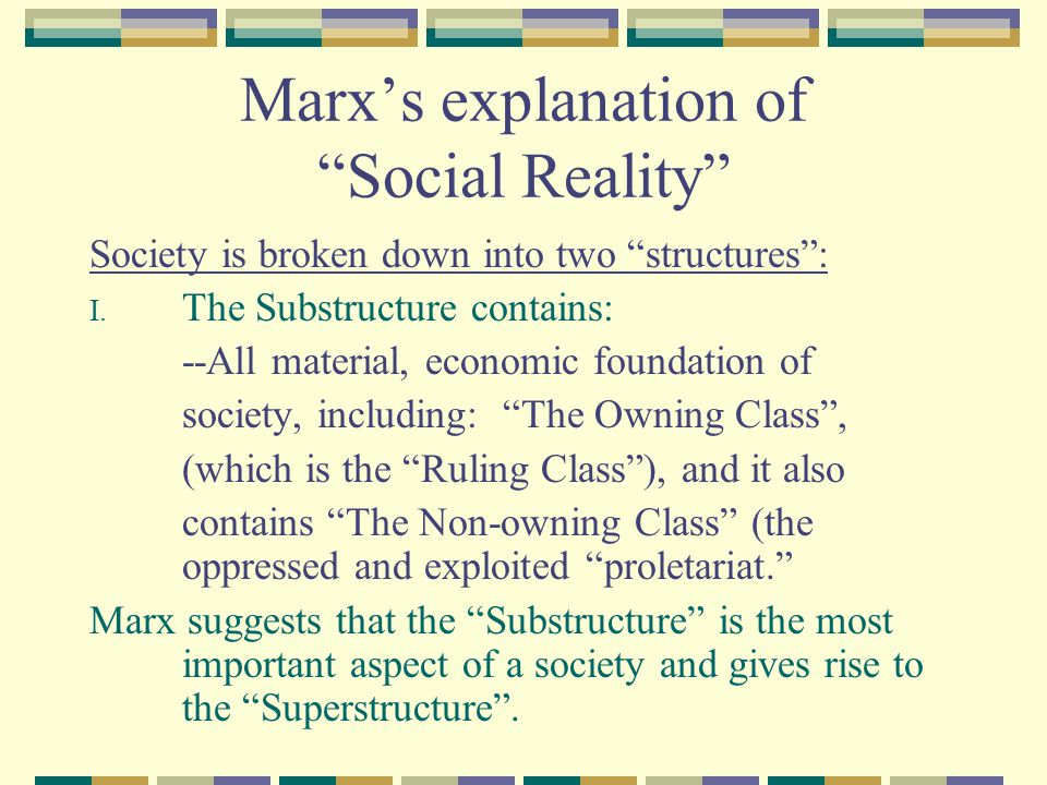 Marx's explanation of Social Reality