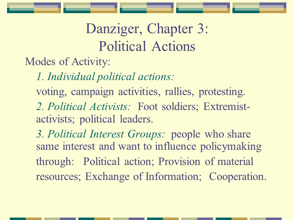 Danziger, Chapter 3: Political Actions