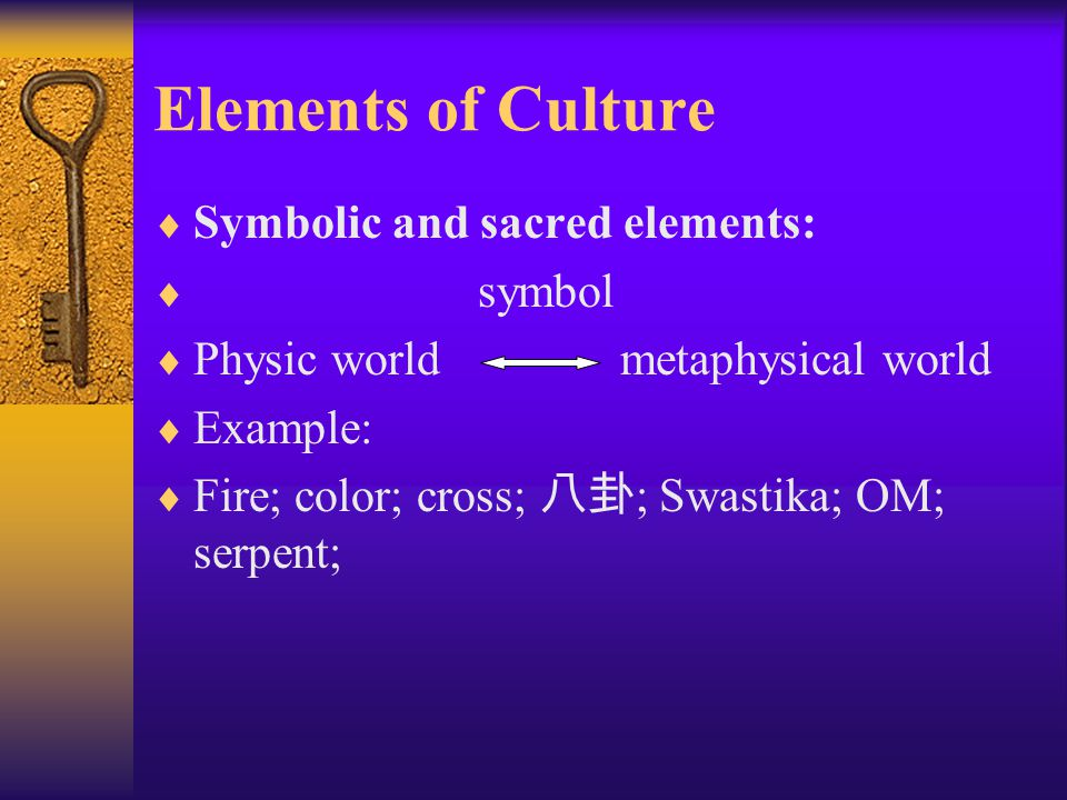 Elements of Culture Symbolic and sacred elements: symbol
