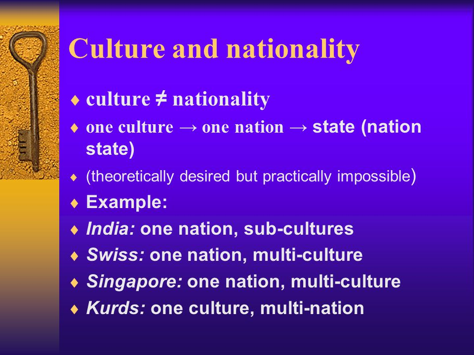 Culture and nationality
