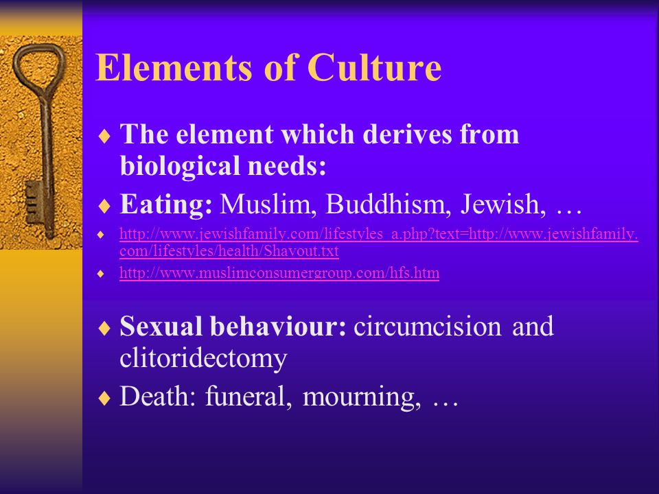 Elements of Culture The element which derives from biological needs: