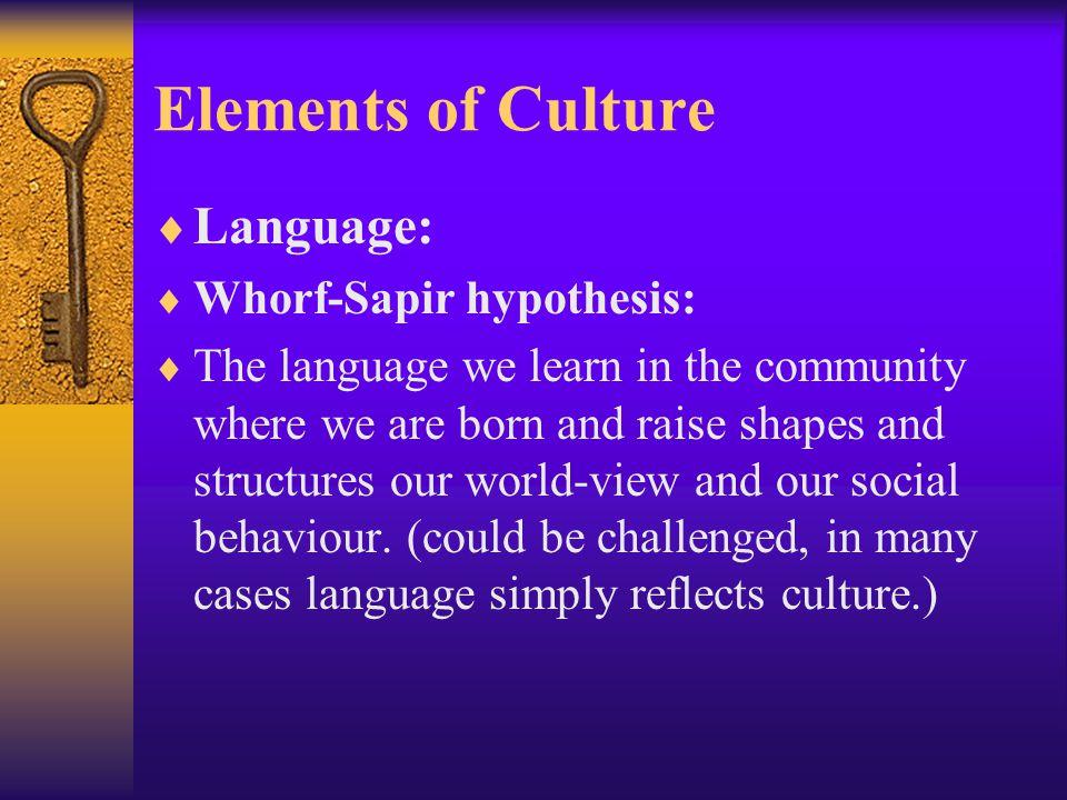 Elements of Culture Language: Whorf-Sapir hypothesis: