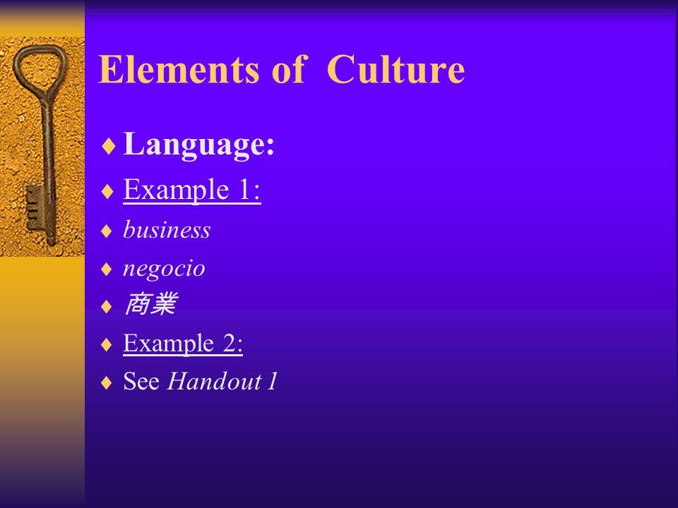 Elements of Culture Language: Example 1: business negocio 商業