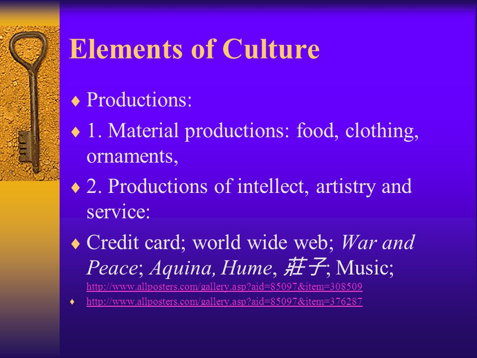 Elements of Culture Productions: