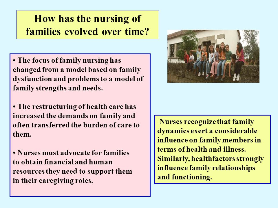 How has the nursing of families evolved over time